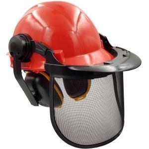 Forst-Schutzhelm Arbeitshelm mit verstellbarem Gehörschutz und abnehmbarem Gesichtsschutz aus Metall